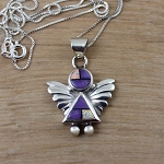 Inlaid Opal and Purple Sugilite Angel Pendant
