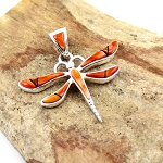 Calvin Begay Small Spiny Oyster Dragonfly Pendant