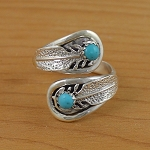 Sterling Silver Adjustable Ring with turquoise nuggets - one size fits all
