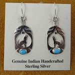 Sterling Silver Wolf in Feather Earrings