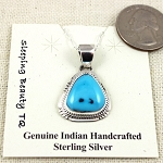 Sleeping Beauty Turquoise Pendant with Sterling Silver Chain