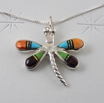 Inlaid Dragonfly Pendant with Sterling Silver Chain