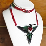 Hand Beaded Ruby-Throated Hummingbird Necklace