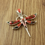 Large Red Flame Dragonfly Pendant