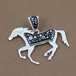 Calvin Begay Starry Night Horse Pendant
