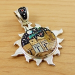 Starry Night Pueblo Scene in Sun Pendant