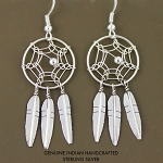 Navajo Sterling Silver Dream Catcher Earring with three drop feathers