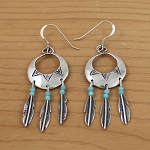 Sterling Silver Earrings Concho with Feathers