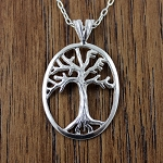 Sterling Silver Tree of Life with LIFE lettering, includes a sterling silver 18