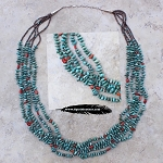 Five Strand Turquoise and Coral Necklace