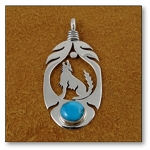 Large Sterling Silver Wolf in Feather Pendant with Turquoise Nugget