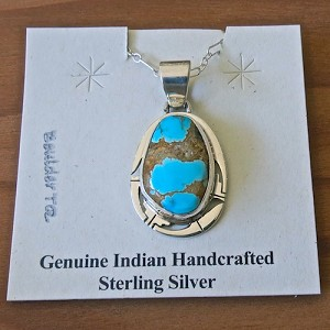 Boulder Turquoise Pendant with Sterling Silver Chain