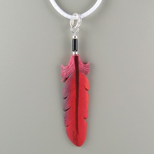 Bone carved Cardinal feather painted pendant