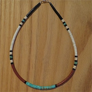 "Heishi Bead Necklace, Santa Domingo Pueblo, NM 18"" long"
