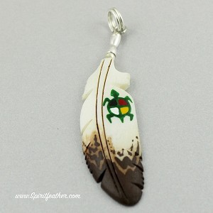 Bone carved eagle feather pendant with painted medicine wheel