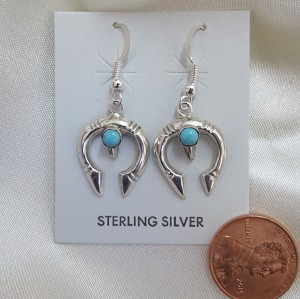 Navajo Sterling Silver Earrings, Naja design