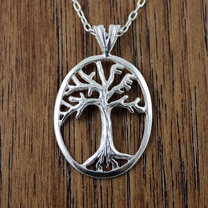 "Sterling Silver Tree of Life with LIFE lettering, includes a sterling silver 18"" chain"