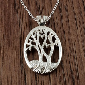 "Sterling Silver Tree of Life with Two Hearts, includes a sterling silver 18"" chain"