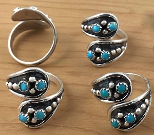 Sterling Silver Adjustable Ring with turquoise nuggets oxidized background - one size fits all