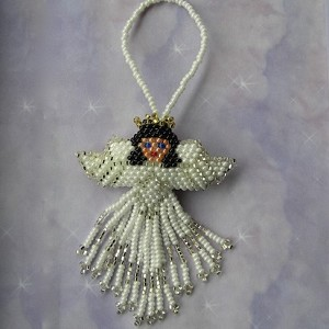 Hand Beaded Angel ornament - two sided