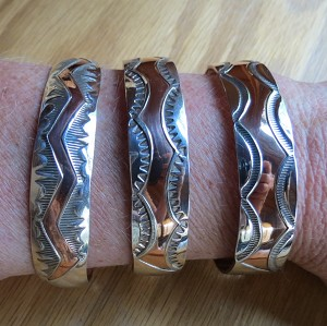 Copper Bracelet with Sterling Silver Adornment
