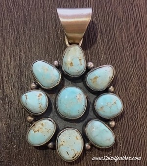 Dry Creek Turquoise Flower ClusterPendant (Sacred Buffalo Turquoise)
