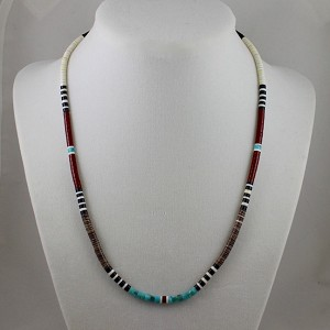 "Finest Heishi Bead Necklace, Santa Domingo Pueblo, NM 18"" long"