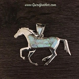 Sterling Silver Opal Horse Pendant - two sided