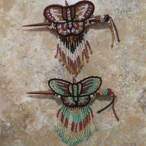 Hand Beaded Butterfly Hair Stick