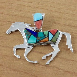 Sterling Silver Multi-Colored Inlay Horse Pendant - two sided