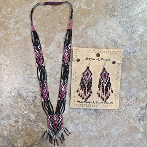 Necklace and Earrings Beaded Set - Pink and Black