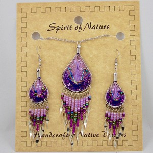 Necklace and Earrings String Art Purple Set