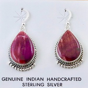 Beautiful Purple Spiny Oyster Earrings and Sterling Silver