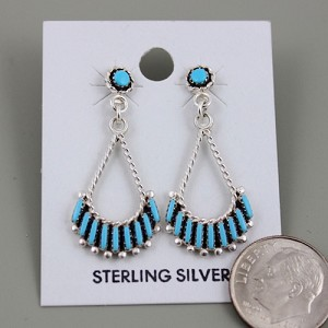 Sterling Silver Zuni Needle Point Earrings