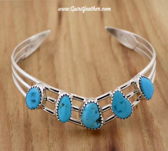 Sterling  Silver Five Nugget V Shaped Turquoise  Bracelet