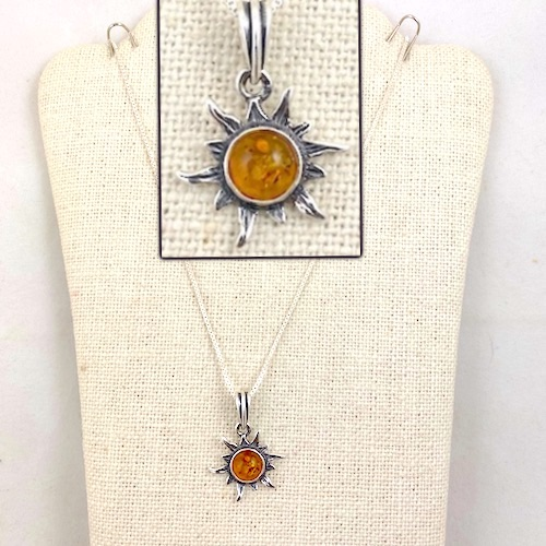 Sterling Silver Amber Sun Pendant with Sterling Silver Chain