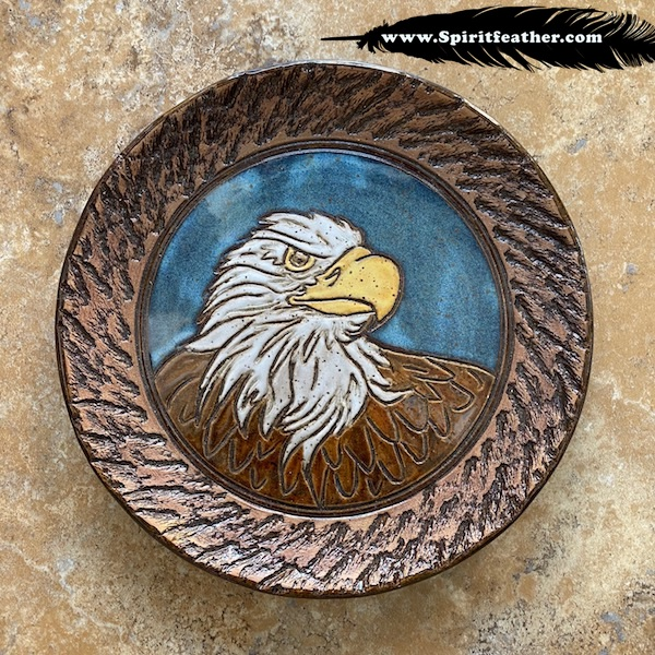 Hand made and carved Bald Eagle plate with bark border - food safe or display