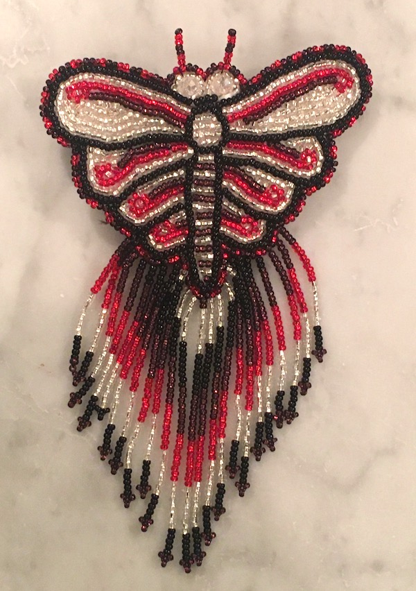 Hand Beaded Butterfly Barrette with Long Fringe Black, Red, Silver Colors