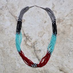 Navajo beaded necklace, ten strands in traditional chosen colors, 28