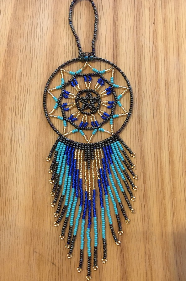 Hand Beaded Dream Catcher Blue Turquoise Gold