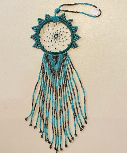 Gracious and Very Long Hand Beaded Turquoise Beautiful Dream Catcher