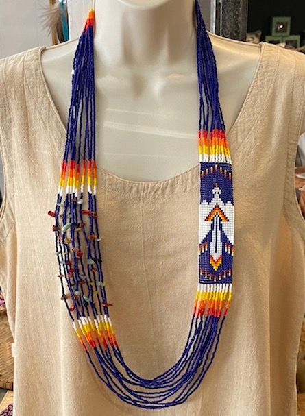 Hand Beaded Blanket Necklace Peyote Bird