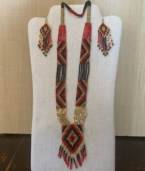Necklace and Earrings Beaded Set - Red, black, gold