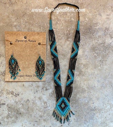 Necklace and Earrings Beaded Set - Black and Turquoise