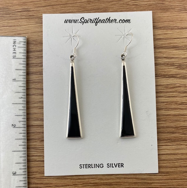 Black Jet Long Slender Earrings