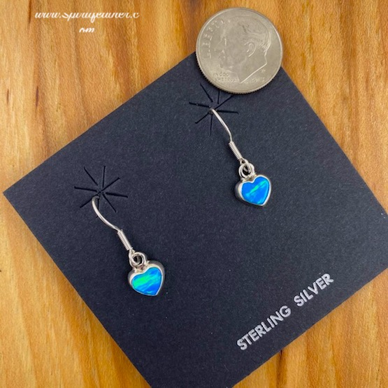 Sweet Aqua Opal and Sterling Silver Heart Earrings - wires