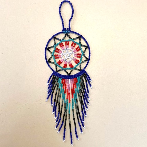 Hand Beaded Dream Catcher Blue and Red