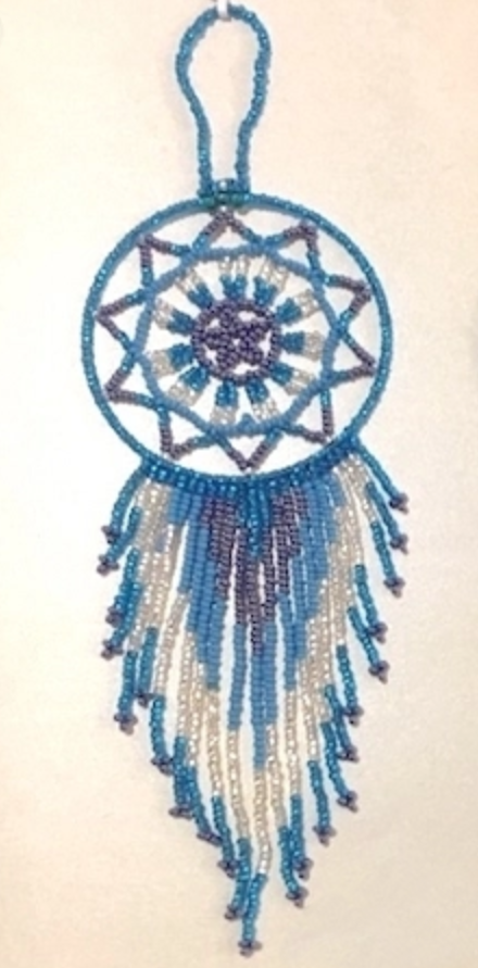 Hand Beaded Dream Catcher Blue Tones