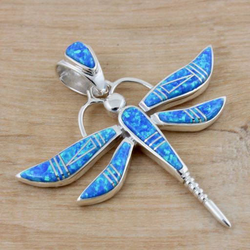 Sterling Silver Dragonfly Pendant Inlaid with Blue Opal - Large Size