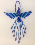 Hand Beaded Hummingbird Ornament Blue Silver